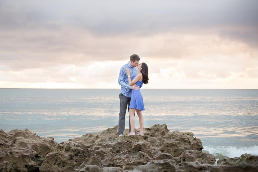 jupiter engagement sunrise coral beach photo session