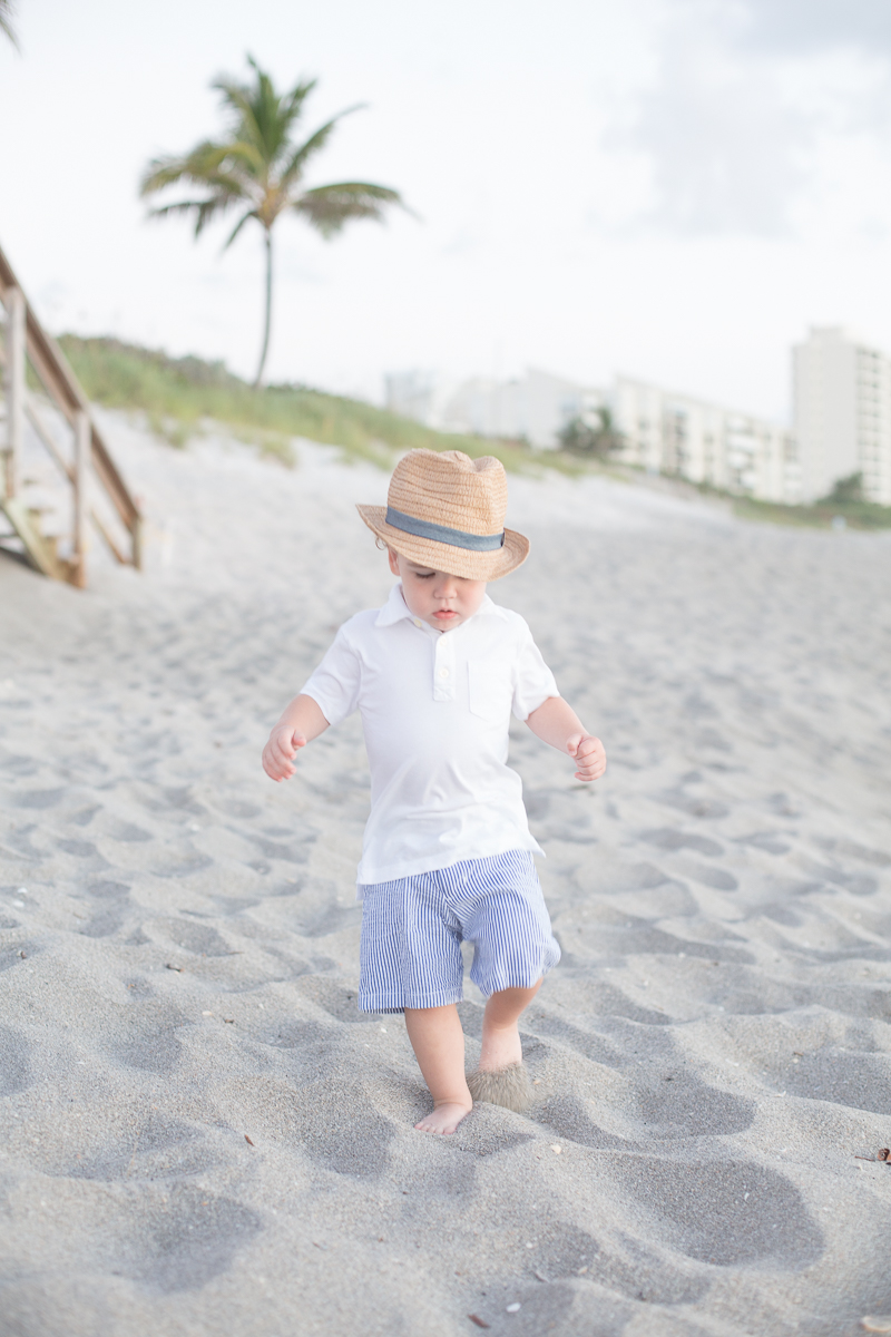 sunrise beach family session two year old session jupiter florida baby fedora